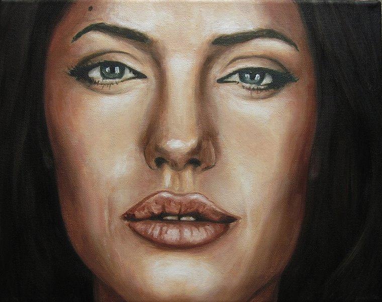 Angelina Jolie Portrait Kunst Malerei Ölgemälde Painting