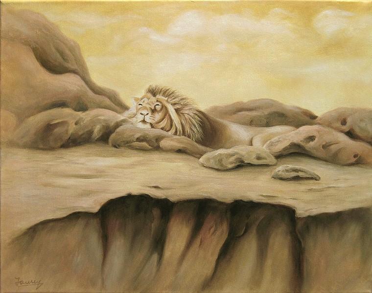 Löwe Ölbild Malerei Gemälde Painting Kunst Tiere