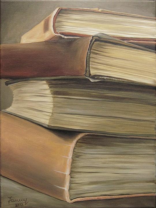 Bücherstapel, Kunst, Malerei Ölgemälde Painting