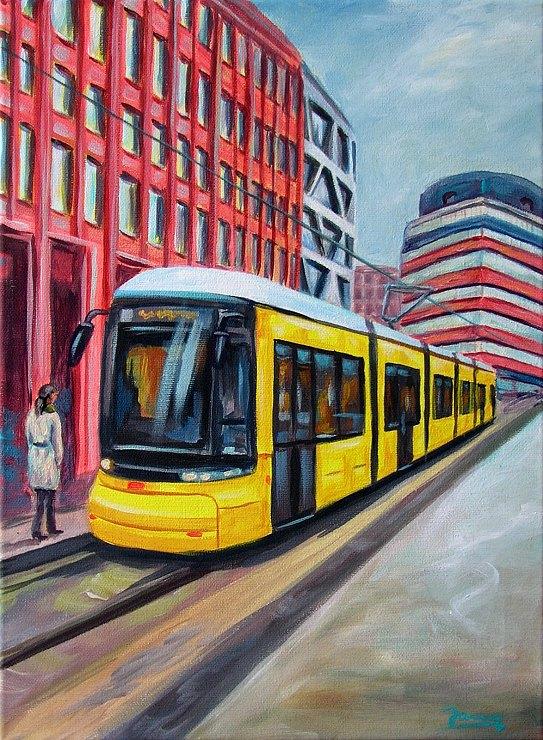 Tram Berlin Kunst Malerei Acrylgemälde