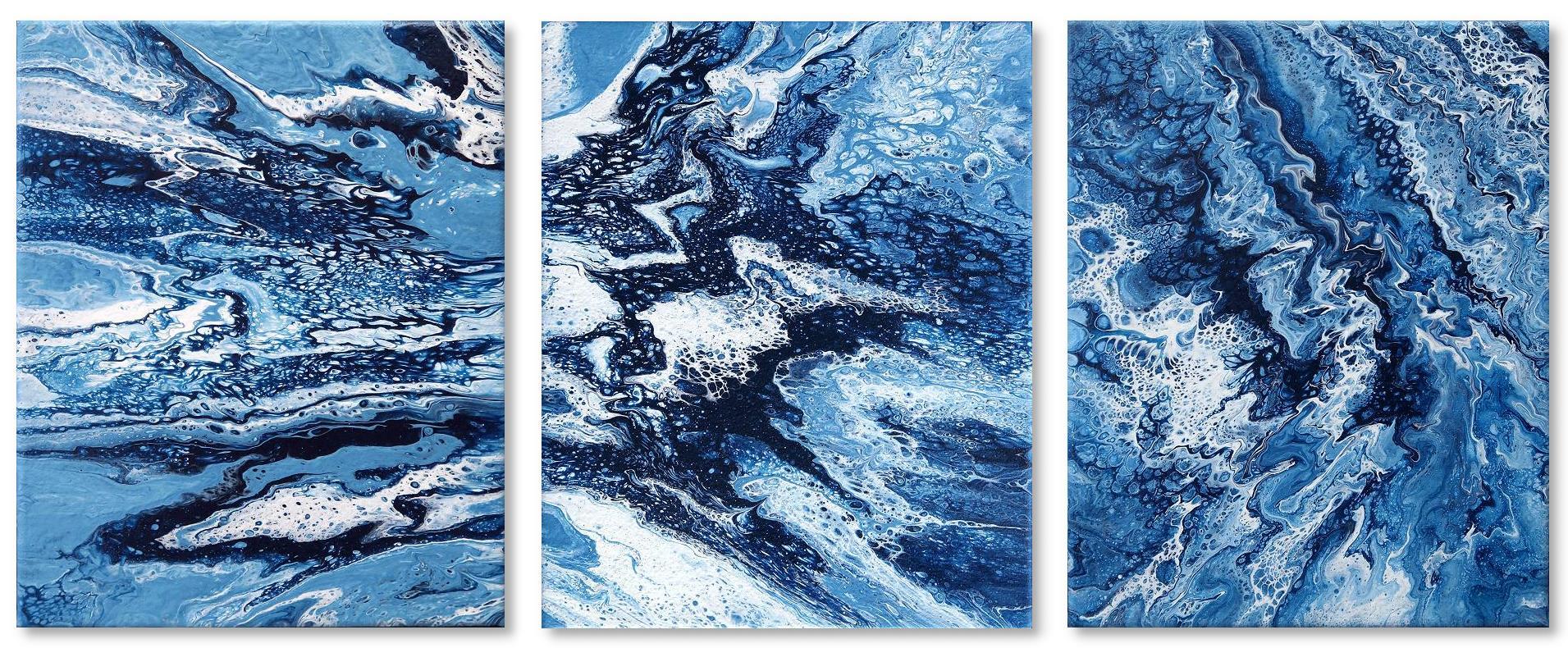 Jannys Art Fluid Painting Triptichon