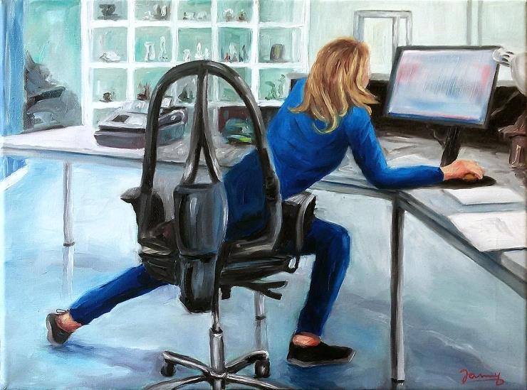 Am Schreibtisch Gemälde Kunst Malerei