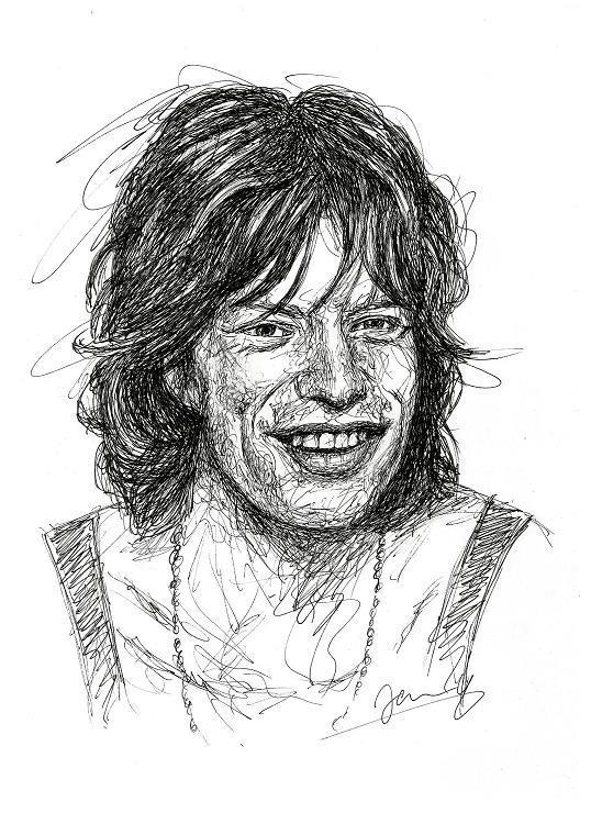 Rolling Stones Mick Jagger 1970 Portrait Zeichnung Scribble Art Kunst
