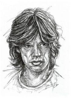 Mick Jagger Rolling Stones Scribble Portrait