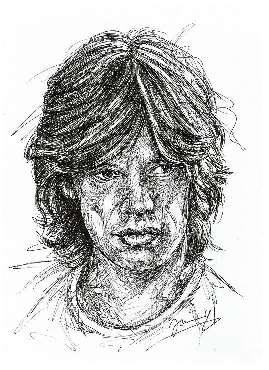 Mick Jagger Portrait Zeichnung Scribble Art Kunst 1972 Rolling Stones
