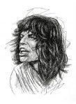 Mick Jagger Scribble Portrait Zeichnung 1976