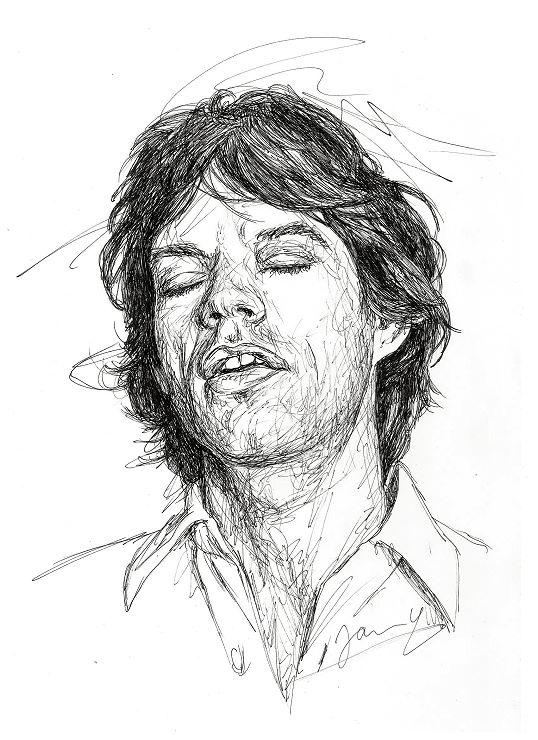 Mick Jagger Rolling Stones Scribble Portrait Zeichnung Kunst