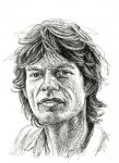 Mick Jagger Scribble Portrait 1982