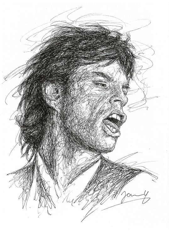 Mick Jagger Scribble Portrait 1987 Rolling Stones Kunst Zeichnung