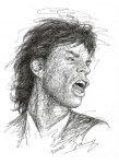 Mick Jagger Scribble Portrait 1987