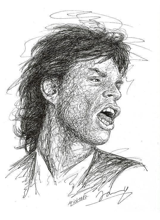 Mick Jagger Scribble Art Portrait Rolling Stones Zeichnung