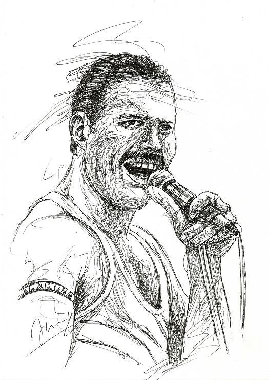 Freddie Mercury Scribble Live Aid Queen Sänger Portrait Kunst Zeichnung
