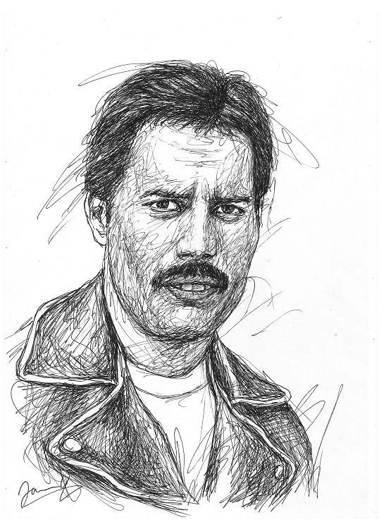 Freddie Mercury Queen Sänger Scribble Portrait Kunst Zeichnung