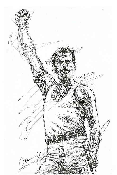 Queen Freddie Mercury Scribble Art Portrait Zeichnung Kunst