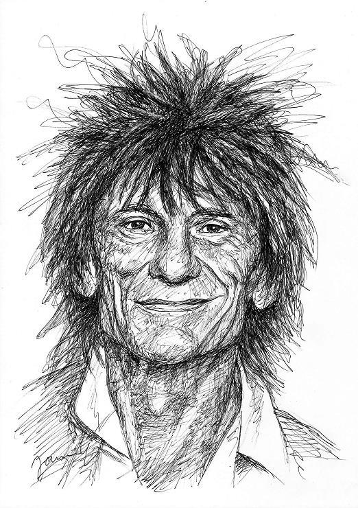 Ronnie Wood Portrait Zeichnung Scribble Art