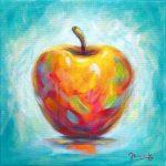 Apfel Malerei Acrylbild Expressive Moderne Kunst von Janny Cierpka