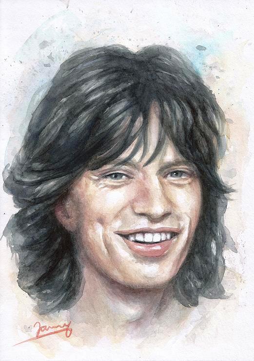 Mick Jagger 1970 Aquarell Portrait Fanart