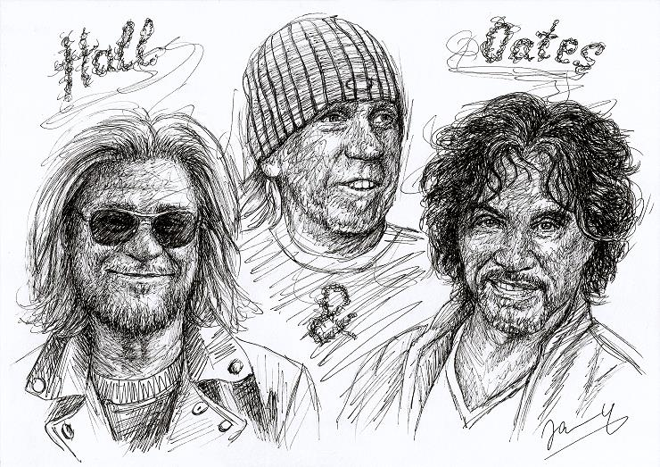 Hall and Oates T-Bone Wolk Scribble Portrait