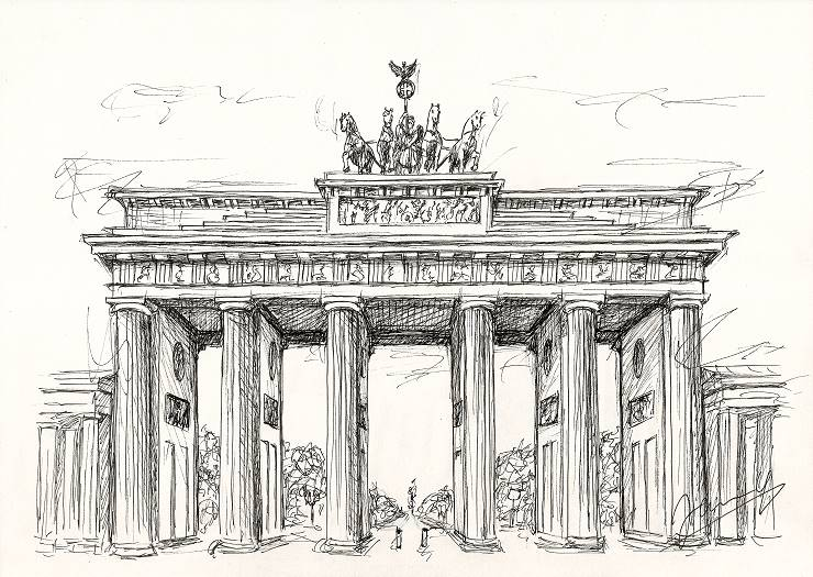 Brandenburger Tor Scribble Zeichnung
