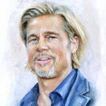 Brad Pitt Aquarell Portrait Fanart
