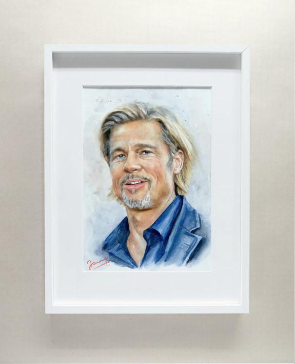 Brad Pitt Portrait Aquarell Fanart