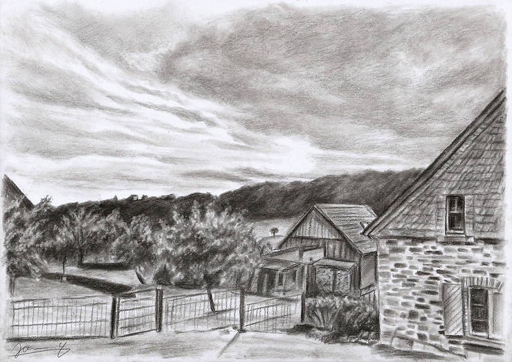 Haus Landschaft Bild Zeichnung Kunst