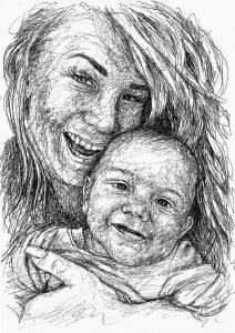 Doppel Portrait Scribble Art Zeichnung