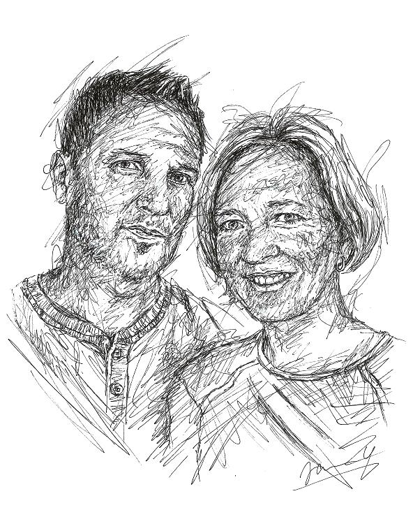 Doppel Portrait Scribble Art Pärchen Zeichnung