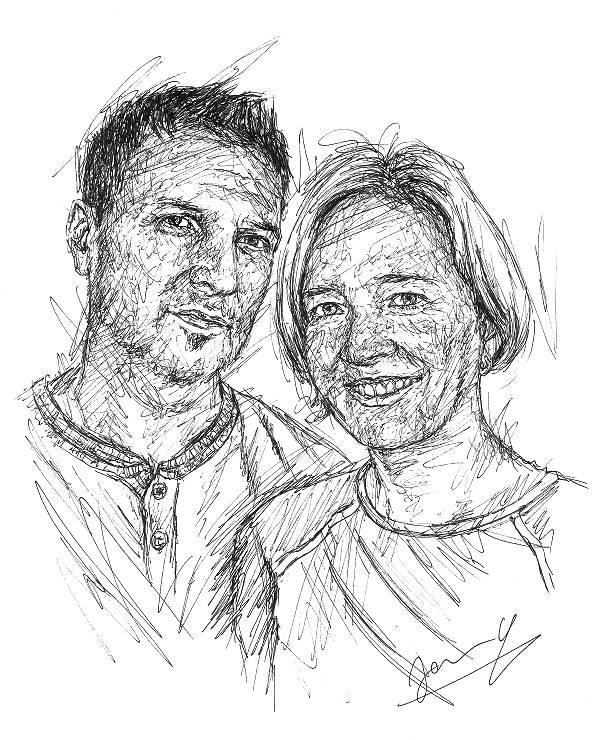 Portrait Scribble Art Pärchen Zeichnung