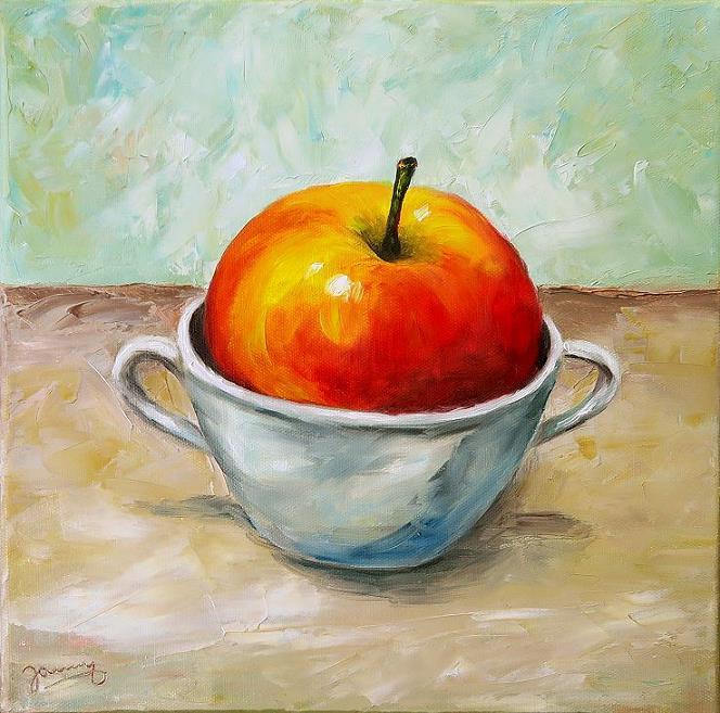 Apfel in Tasse Kunst Malerei Gemälde