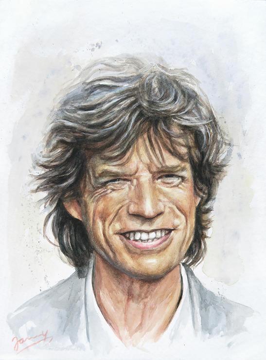 Mick Jagger Aquarell Portrait Rolling Stones Kunst