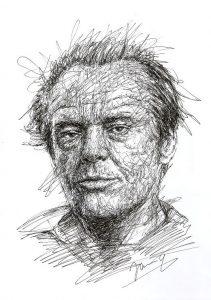 Jack Nicholson scribble art portrait