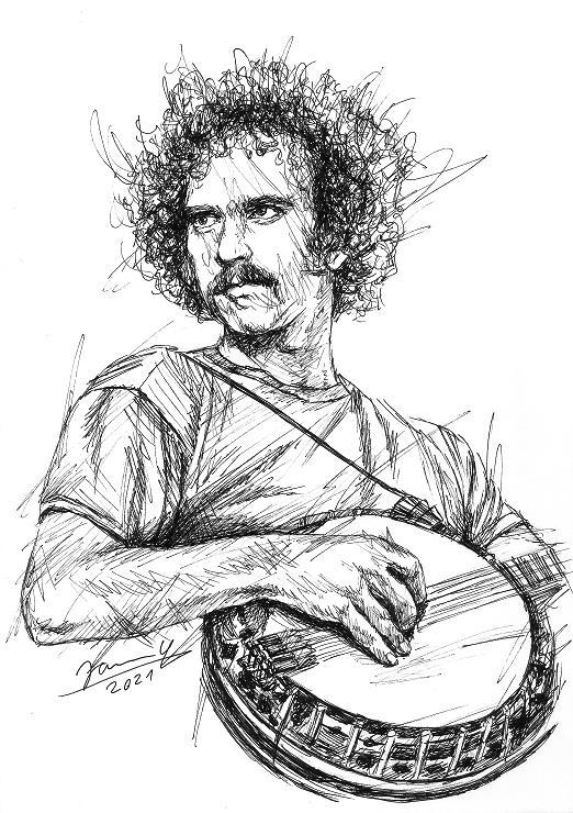Eagles scribble portrait Bernie Leadon