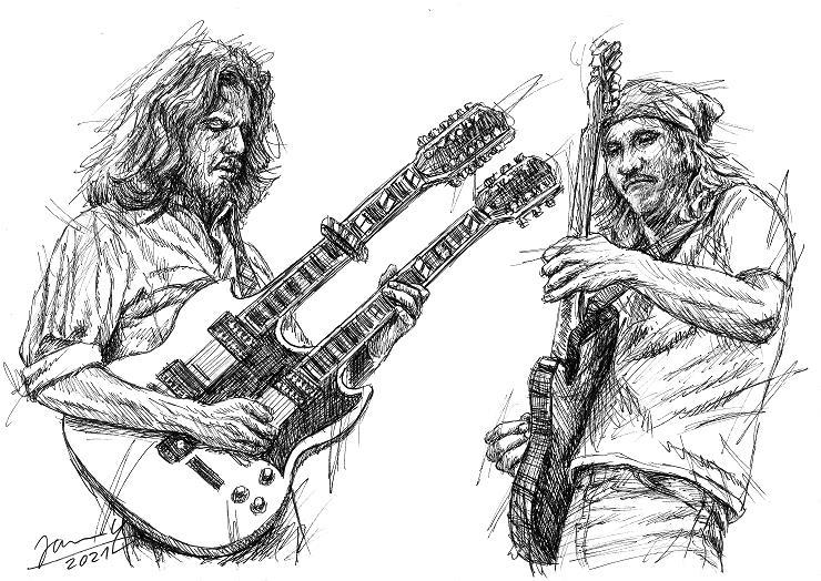 Eagles scribble portrait Don Felder Joe Walsh