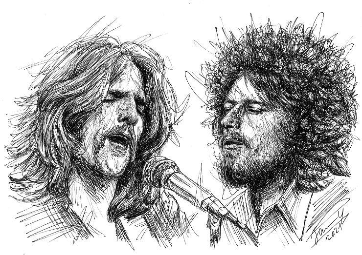 Eagles scribble portrait Glenn Frey und Don Henley