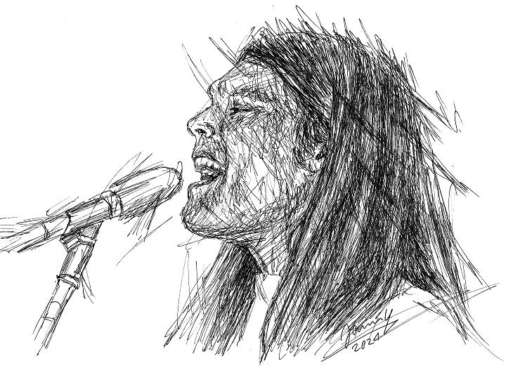 Eagles scribble portrait Timothy B. Schmit