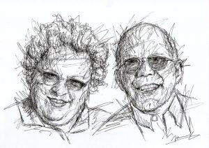 Eltern Portrait Scribble Art
